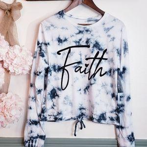 ONE FIRE Womens Faith Boxy  Retro Tie Dye Tee Xl